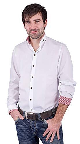 Arido Trachtenhemd Herren 2624 255 Baumwollhemd Weiß Rot Kariert Hemd Stehkragen Slim Fit Freizeit Shirt Herren - Größe 40
