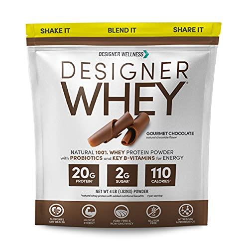 Designer Protein Whey Natural Protein Powder, Gourmet Chocolate, 4 lb,...