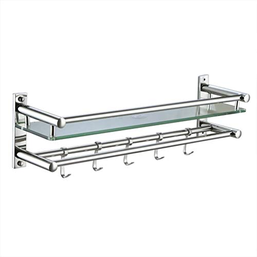Best Price Bathroom shelves Glass Shelf with Stainless Steel Rail Wall Mounted Bathroom Rectangular ...