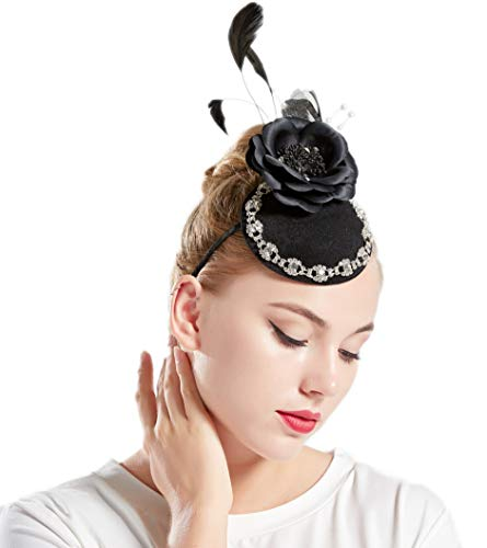 Coucoland Fascinators hoed bloemen dames cocktail party veer fascinator haarband Engelse thee party dames carnaval kostuum accessoires