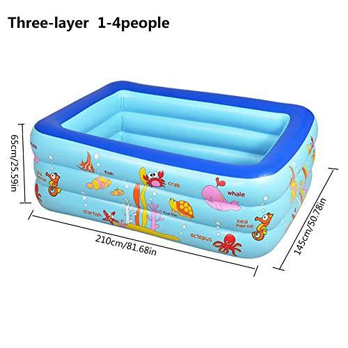 Rubyu Opblaasbaar zwembad, kinderzwembad voor zwembad, groot opblaasbaar bad, snelle en eenvoudige montage en demontage, voor baby en kinderen, 3 verdiepingen