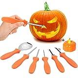 VZATT Kit de Sculpture de Citrouille, 6 Pièces Halloween Pumpkin Carving Kit Outils de Sculpture de Citrouille en Acier Inoxydable pour la Décoration d'Halloween Sculpture DIY Citrouille