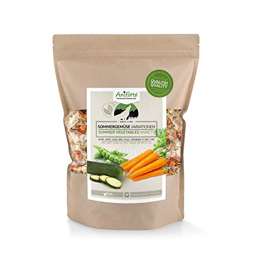 AniForte Barf Zusatz Hund Sommergemüse Variationen 1kg - 100% Natur Hundeflocken, Gemüseflocken Hunde getreidefrei & glutenfrei, Barf Hundefutter, Flockenfutter