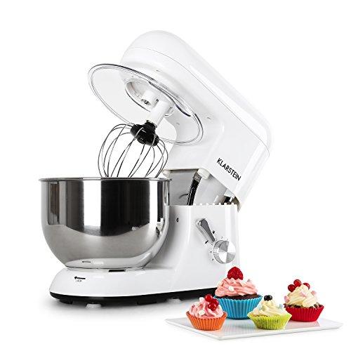 Klarstein Bella Bianca Küchenmaschine Rührgerät (1200 Watt, 5,2 Liter-Rührschüssel, 6-stufige Geschwindigkeit) weiß