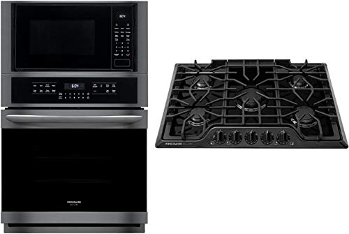 """Frigidaire 2 Piece Kitchen Appliances Package with FGMC2766UD 27"""" Electric Double Wall Oven/Microwave Combo and FGGC3047QB 30"""" Natural Gas Cooktop in Black Stainless Steel"""