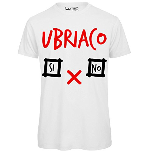 CHEMAGLIETTE! T-Shirt Divertente Uomo Maglietta con Stampa Addio al Celibato Ubriaco Si No Tuned, Colore: Bianco, Taglia: L