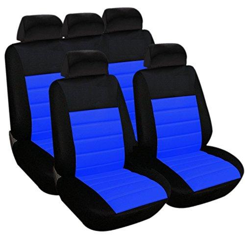Akhan SB403 - kwaliteit autostoelbekleding stoelhoezen beschermhoes met zij-airbag zwart blauw