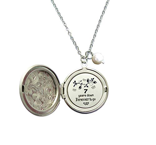 Seven Years Wedding Anniversary Gift for Her 7 Years Down and Forever to go Long Locket Necklace,Hidden Message Necklace,Anniversary Gift For Wife or Girlfriend