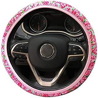 DuoDuoBling Sunflower Steering Wheel Cover for Women (Red)