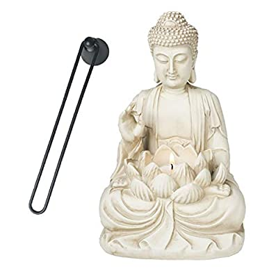 """Bella Haus Design Buddha Tealight Candle Holder Statue – 8.5"""" Tall Polyresin - Zen Home and Garden Decor - Includes 3pcs Tea Lights and Free Candle Snuffer for Office, Indoor, Outdoor Decoration"""