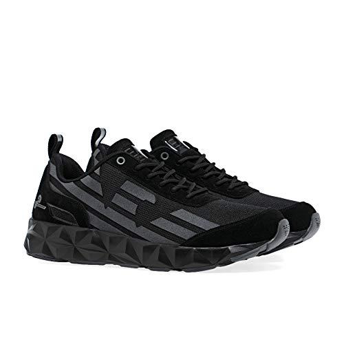 Emporio Armarni EA7 Sneaker - Zapatillas deportivas para hombre, negro (Negro+Hierro+Plateado), 45 EU