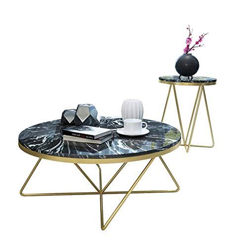 N/Z Living Equipment Juego de 2 mesas de té Mesa de Centro/Mesa Auxiliar Redonda Moderna de imitación de mármol Mobiliario Adecuado para la Mesa de Noche de la Oficina de la Sala de e