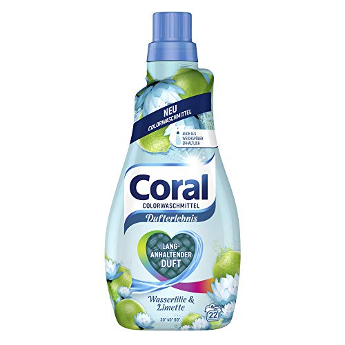 Coral Dufterlebnis Colorwaschmittel Wasserlilie & Limette (Flüssigwaschmittel für bunte Wäsche mit langanhaltendem Duft 22 WL), 1 Stück (1 x 1100 ml)