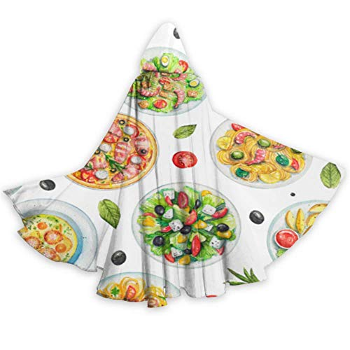 ALALAL Deliciosa Comida Creativa albndiga Hombres con Capucha Capa Capucha para Hombres 59 Pulgadas para Navidad Disfraces de Halloween Cosplay