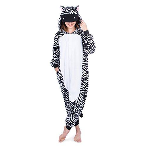 Emolly Fashion Adult Zebra Animal Onesie Costume Pajamas for Adults and Teens (X-Large, Zebra) Black/White