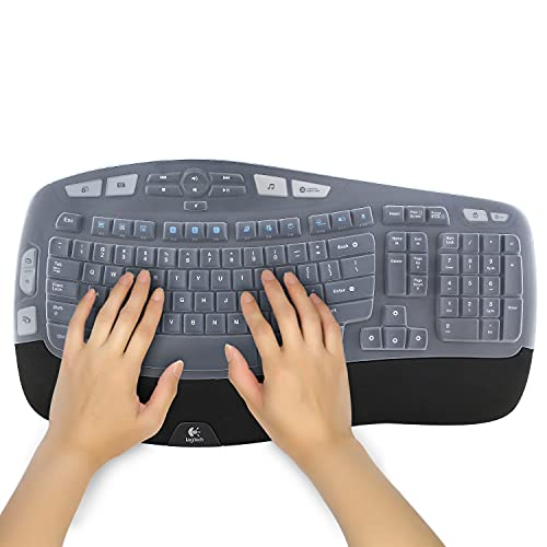 Silicone Keyboard Cover for Logitech K350 MK550 MK570 Ergonomic Desktop Wireless Keyboard Ultra Thin Protective Skin (for Logitech K350 MK550 MK570, Transparent)