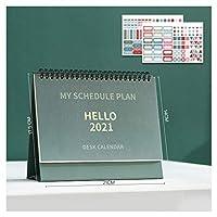 カレンダー卓上カレンダー 2021クリエイティブ卓上カレンダーカレンダー - チェックインリマインダー月間カレンダーを毎月反転します カレンダー卓上カレンダー (Color : Green, サイズ : Large)