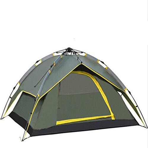 VLOU 3-4 Person Hydraulic Camping Tent Double Layer Instant Outdoor Family Tent Portable Backpacking Tent,Army Green