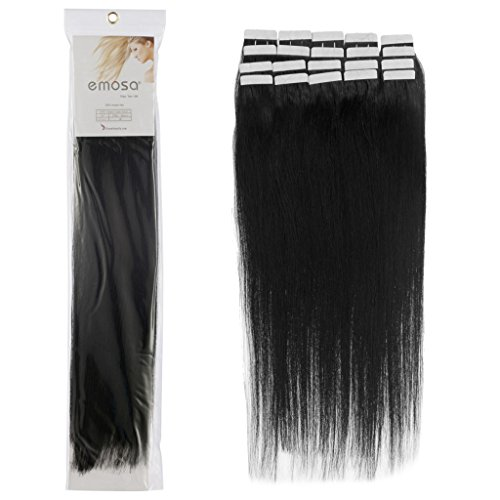 20 inch Emosa Remy Stright PU Tape Skin Seamless Human Hair Extensions #01 Jet Black 50g
