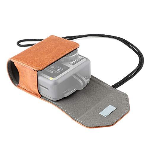 HSKB Leder Tasche Handtasche, Portable Handheld Hard Bag Wasserdichter Outdoor Carry on Storage Bag für DJI OSMO Action Camera (Orange)