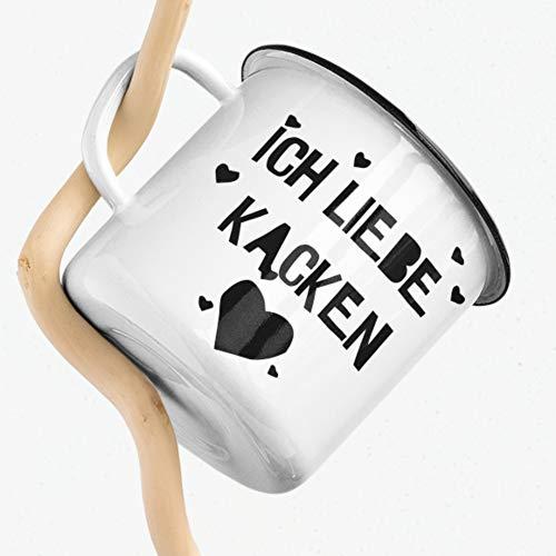 Emaille Camping Tasse Humor Ich liebe Kacken Pupsen Toilette Geschenk Kaffee Tee Tasse Design schwarzer Humor