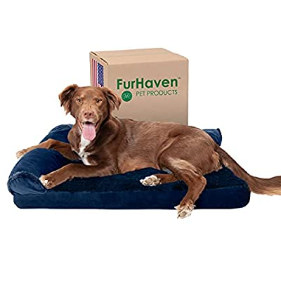 Furhaven Pet Dog Bed - Deluxe Cooling Gel Memory Foam Plush and Velvet L Shaped Chaise Lounge Living Room Corner Couch Pet Bed with Removable Cover for Dogs and Cats, Deep Sapphire, Small