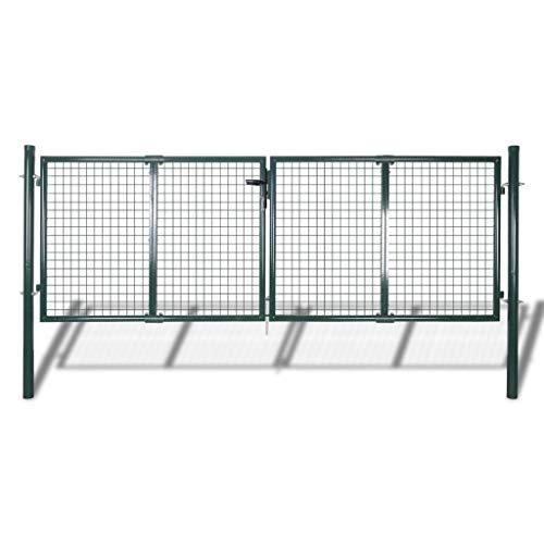 N/O Viel Spaß beim Einkaufen mit Gartenzaun Tor 289x100 cm/306x150 cm Stahl Grün