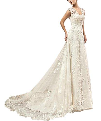 CoCogirls Spitze Hochzeitskleid Kappenhülsen Perlen Korsett Schlüsselloch Rückenfrei Hochzeitskleider Gericht Zug Übergröße Brautkleider (34, Elfenbein)