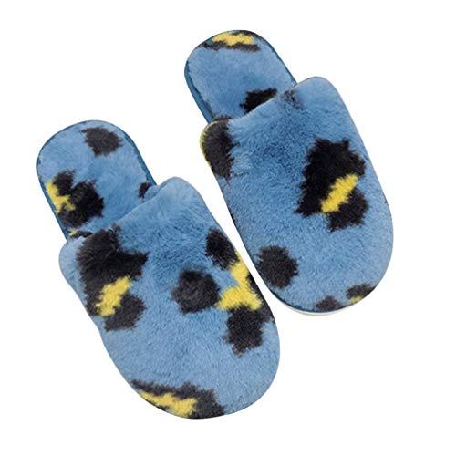 KESYOO 1 par de Zapatillas Antideslizantes para Mujer Zapatillas de Felpa de Invierno Zapatillas de Dormitorio Borrosas Zapatillas Cálidas para El Hogar Interior Azul 41