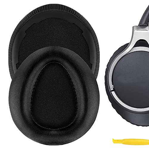 Geekria QuickFit Protein Leather Replacement Ear Pads for Sony MDR-10RBT, MDR-10RNC, MDR-10R Headphones Earpads, Headset Ear Cushion Repair Parts (Black)