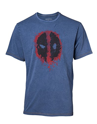 Bioworld EU Marvel Comics Deadpool Mannen Graffiti Masker Faux Denim T-shirt