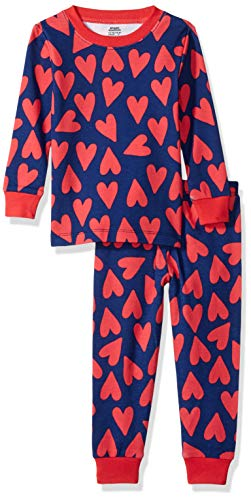 Amazon Essentials Baby Girls Long-Sleeve Tight-Fit 2-Piece Pajama Set, Hearts Blue, 18-24M