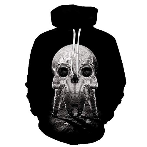 yyqx container Pulls Hoodies d'impression 3D Creative White Skull Alien Outdoor Couples Sweatshirts avec Kangaroo Pocket-Color_XL