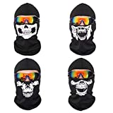 DPLUS Balaclava-4pcs Halloween Ghost Mask Balaclava Skull Hood-Outdoor Mask for Men Women Kids Youth Adult (Black)