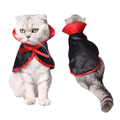 SANGDA huisdier Halloween kostuum, kat kostuum huisdier kostuum kat mantel cosplay accessoires voor katten vakantie partij (Zwart, 28x29cm)