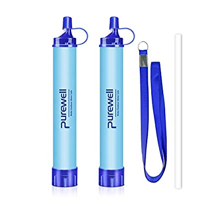 Purewell Outdoor Water Filter Personal Water Filtration Straw Emergency Survival Gear Water Purifier for Camping Hiking Climbing Backpacking