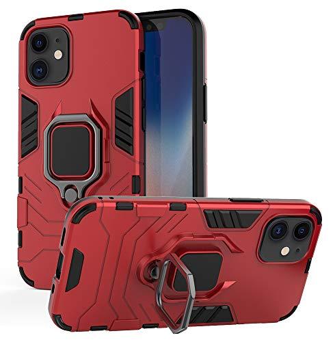iPhone 12 用ケース iPhone12 Pro 用ケース リング 耐衝撃 PC+TPU 米軍規格 カメラ保護 車載ホルダー対応 軽量 薄型 全面保護カバー 擦り傷防止 滑り止め アイフォン12 Pro 用ケース/アイフォン12 用ケース リング付き6.1インチ 携帯カバー レッド