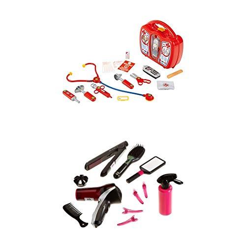 Theo Klein 4350 - Arztkoffer mit Handy + Braun Satin Hair 7 Mega Set mit Haartrockner, Bürste, Haarglätter, Handspiegel, Kamm, 4 Haarklammern, Spielzeug