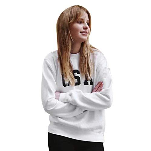 SHOBDW Otoño Mujer O-Cuello USA Carta Imprimir Elegante Moda Soft Fleece Jumper Pullover Tops Blusa Manga Larga Sudadera(Blanco,S)