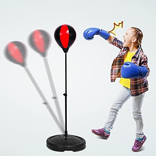 Boxsack-Set für Kinder, Kinder Boxsack Set, Standboxsäcke Boxsack Punchingball mit Boxhandschuhen und Pumpe für Kinder ab 6 Jahre, Höhenverstellbar 70-105 cm