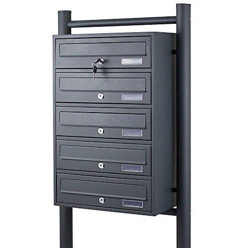 BITUXX® Stand-Briefkastenanlage Postkasten Letterbox Mailbox mit 5 Fächer Dunkelgrau Anthrazit