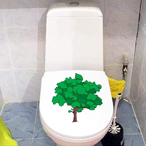 Autocollant De Toilettes Cartoon Green Tree Frais Des Plantes Wc Décor Home Kids Room Wall 21.3 * 20.8Cm