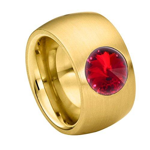 Heideman Ring Damen Coma 14 aus Edelstahl Gold farbend matt Damenring für Frauen mit Swarovski Stein Kristall siam rot im Fantasie Edelsteinschliff 10mm