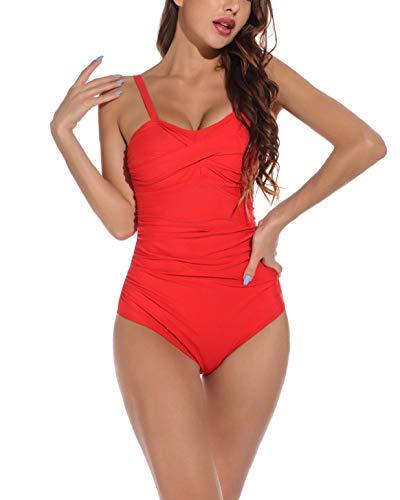 heekpek Traje de Baño Una Pieza para Mujer Bañadores Mujer Reductores Cuello en V Pliegues Bañador Bikini Retro