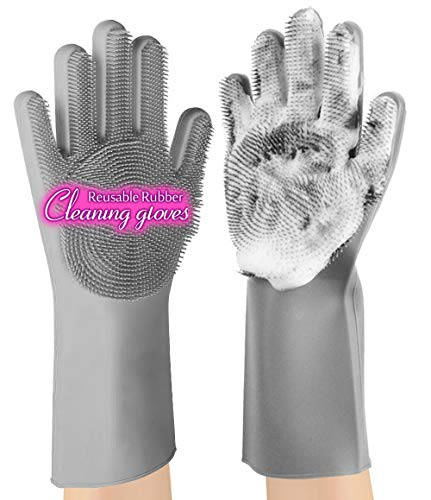 Product Image 1: anzoee Reusable Silicone Dishwashing Gloves, Pair of Rubber Scrubbing Gloves for Dishes, Wash Cleaning Gloves with Sponge Scrubbers for Washing Kitchen, Bathroom, Car & More (Gray) …