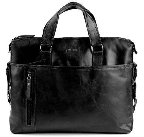 BACCINI Laptoptasche echt Leder Leandro groß Businesstasche Umhängetasche Aktentasche Laptopfach 15.6' Ledertasche Herren schwarz