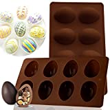 2PC Easter Silicone Mold for Chocolate Bombs 8-Cavity Egg Shaped Silicone Mould for Easter Hot Chocolate Cocoa Bombs, Mousse Cake Baking, Jelly