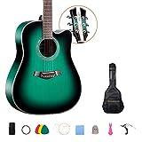 YJFENG-Guitarra Acústica, 41 Pulgadas Abeto Sonido Brillante Perilla Abierta Juerga seleccionada Guitarra de Nivel de Entrada Niños y niñas Sociedades, Viajes (Color : Green, Size : 104cm)
