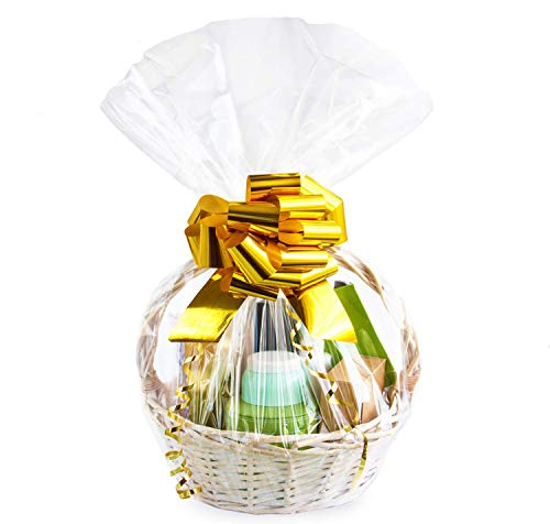 Large Cellophane Bags,24x30 Inch Cellophane Wrap for Gift Baskets,10Pcs Clear Basket Bags