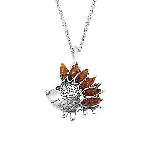 Kiara Jewellery Collar con colgante de erizo de plata de ley 925 incrustado con ámbar báltico marrón en cadena de plata de ley de 45,72 cm.